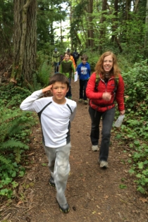 Wilkes School students visit Fort Ward on a field trip.