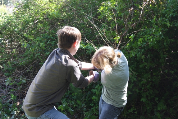 The Appleberry siblings give a mighty tug on a tough vine.