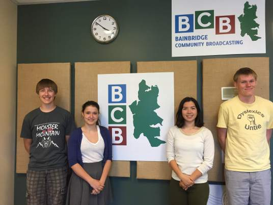 The Fort Ward Youth Advisory Committee at the Bainbridge Community Broadcasting studios.