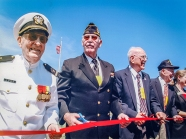 Veterans cut the ribbon at the Parade Grounds dedication, summer 2002.