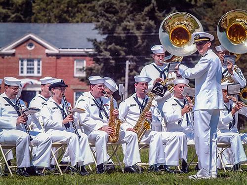 The Navy band at the 2002 Parade Grounds dedication.