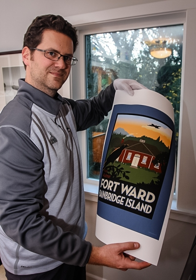 John Arnsdorf of Studio23 with a commemorative Fort Ward print, hot off the press.