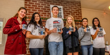 Our Fort Ward Youth Advisory Committee with an early Christmas gift: really cool coffee mugs!