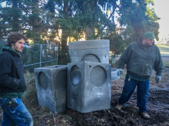 Stormwater vaults waiting for installation