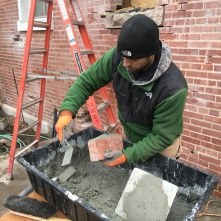 PJ trowels on mortar