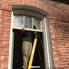 Test fitting an original fanlight window