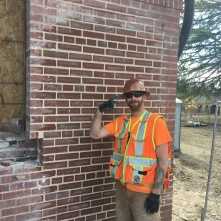 Eric and the new wall -- great work!