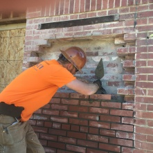 Eric from Masonry Restoration Consulting rebuilds a portion of the north wall